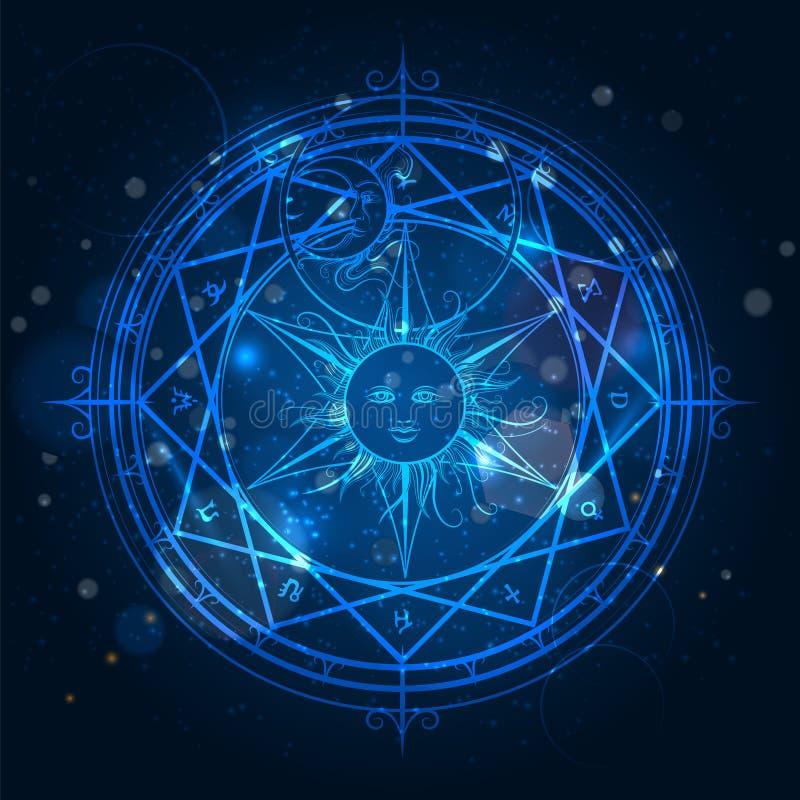 Alchemy magic circle on blue background stock illustration