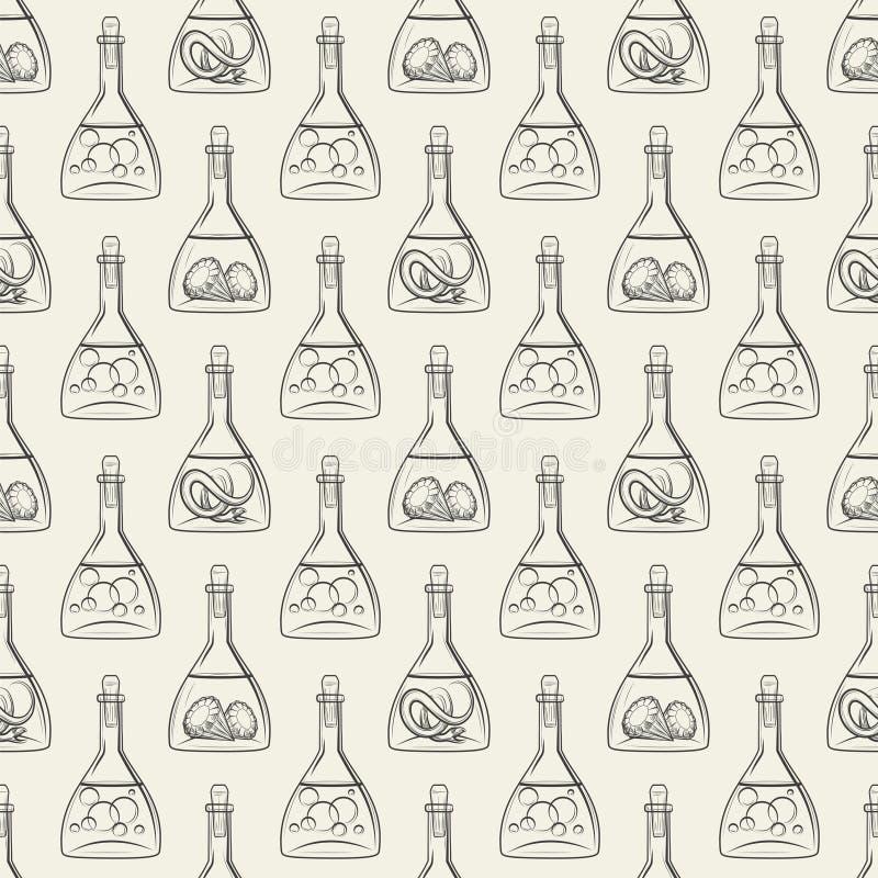 Alchemy seamless pattern with bottles stock illustration