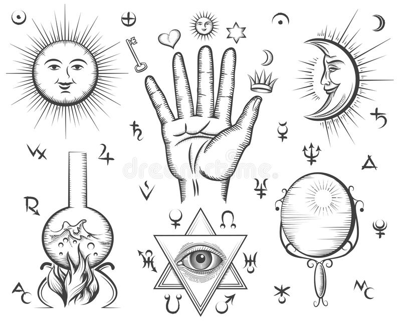 Alchemy, spirituality, occultism, chemistry, magic stock illustration