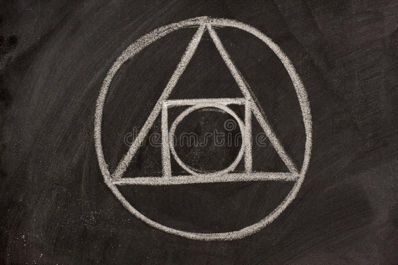 Alchemy Symbol On A Blackboard Stock Photo - Image of