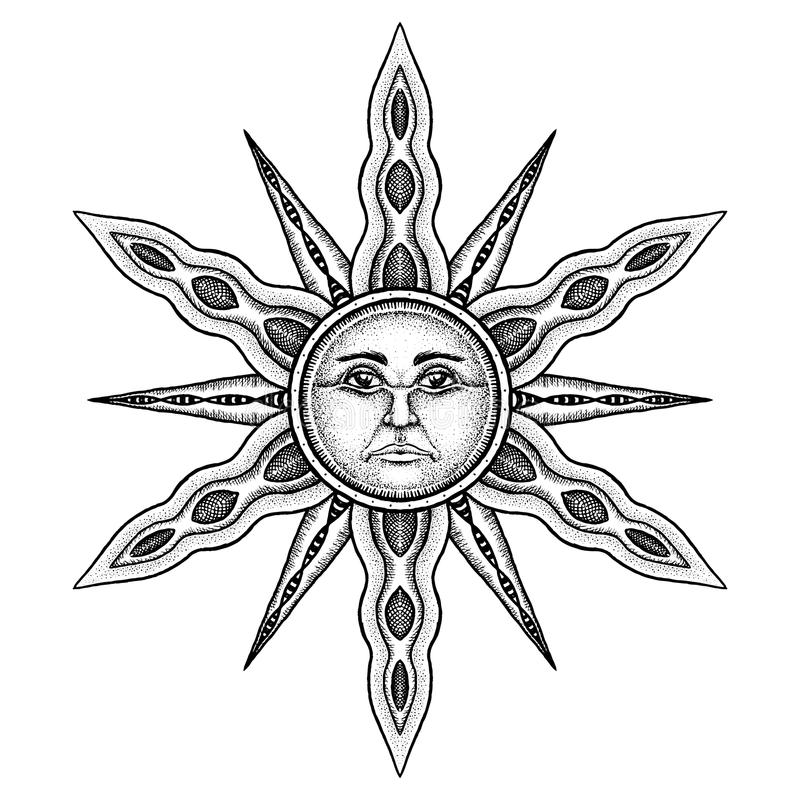 Alchemy Symbol of Sun - Vector Illustration Stylized as Engraving. Alchemy Symbol of Sun with Rays - Vector Illustration Stylized as Engraving Isolated on White vector illustration