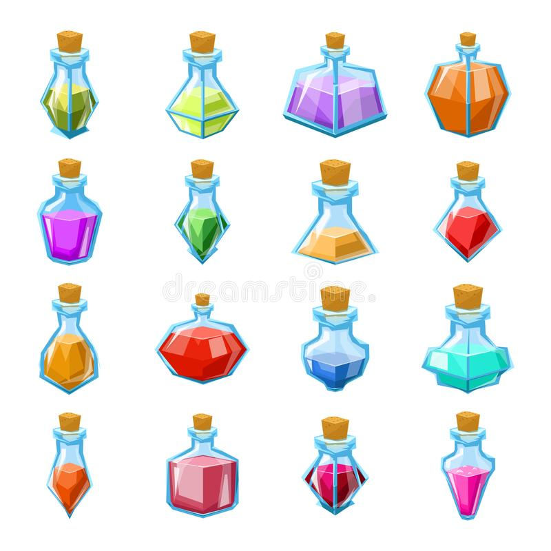 Alchemy witch magic beverage elixir potion poison antidote glass bottle icons set isolated cartoon game design vector stock illustration
