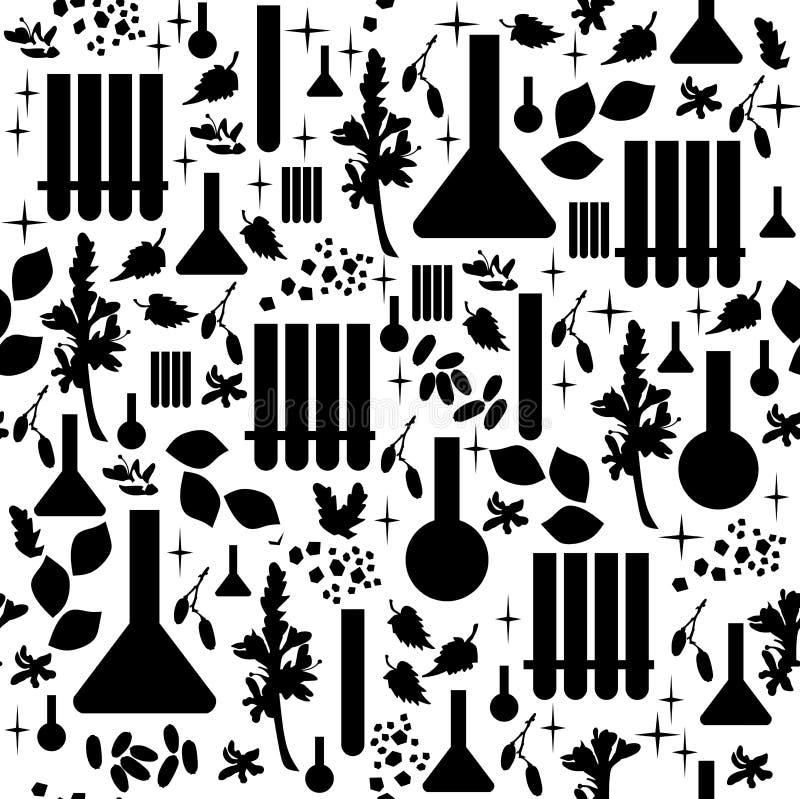 Alchimie naadloos patroon zwarte elementen op witte achtergrond stock illustratie