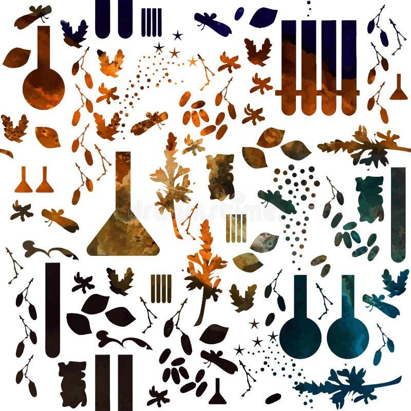 Alchimie of parfum naadloos patroon Chemisch patroon van middeleeuwse school waterverf op witte achtergrond stock illustratie