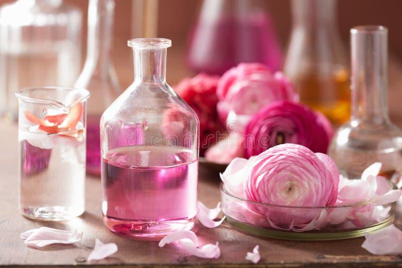 Alchimie und Aromatherapie stellten mit Ranunculusblumen und -flaschen ein stockfotos