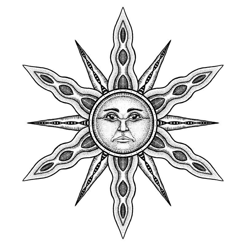 Alchimiesymbool van Zon - Vectorillustratie die als Gravure wordt gestileerd vector illustratie