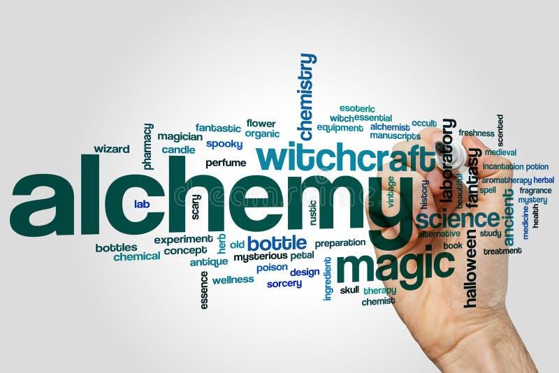 Alchimiewort-Wolkenkonzept auf grauem Hintergrund stockfotografie