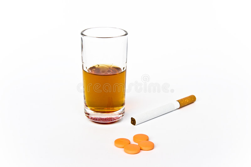 Alchool, sigaret, drugs stock afbeelding