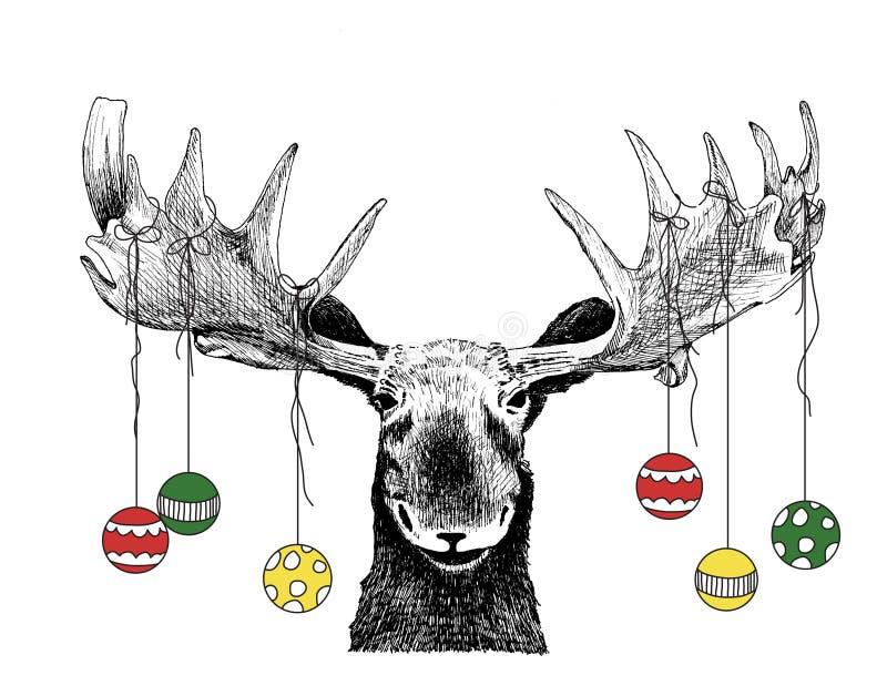 Alci divertenti di natale con gli ornamenti illustrazione vettoriale