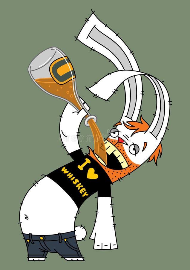 Alcoólico do coelho ilustração royalty free