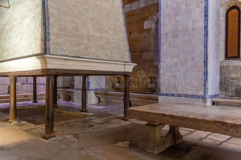 Alcobaca, Portugal - July 17, 2017: Kitchen of Monastery of Santa Maria de Alcobaca Abbey. Masterpiece of Medieval Gothic stock image