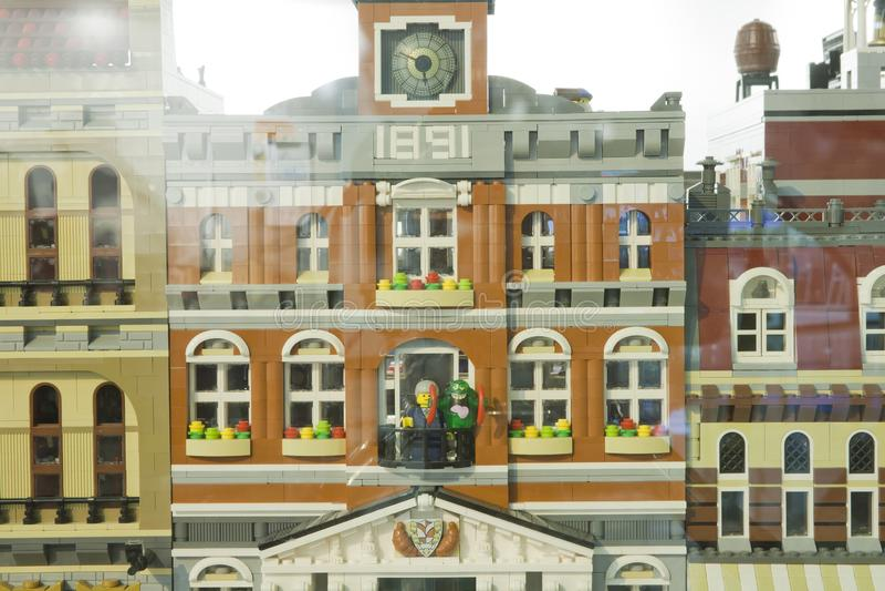 Alcobendas, SPAIN, October 19, 2018. Buildings in a exibition of Lego City. City Concept royalty free stock photos