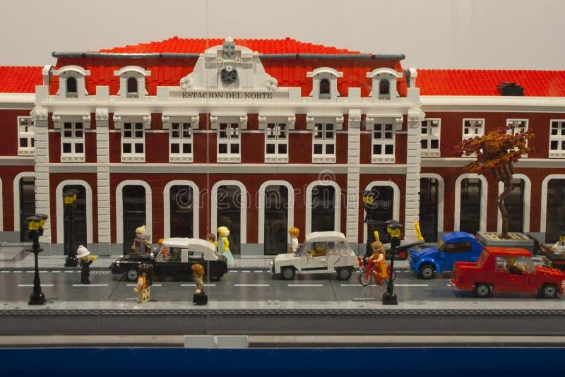 Alcobendas, SPAIN, October 19, 2018. Buildings in a exibition of Lego City. Principe Pio train station stock photo