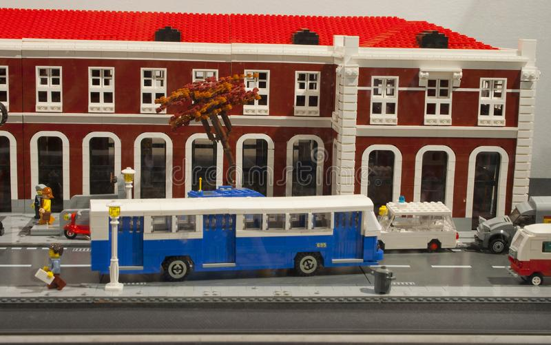 Alcobendas, SPAIN, October 19, 2018. Buildings in a exibition of Lego City. Principe Pio train station stock photos