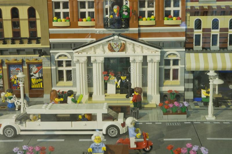 Alcobendas, SPAIN, October 19, 2018. Wedding diorama for a exibition of Lego City. Builded for ALE cultural asociation members of royalty free stock image