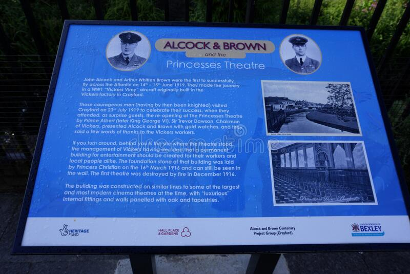 Alcock and Brown Plaque Waterside Gardens Crayford Kent United Kingdom. Crayford, Kent, United Kingdom - August 19, 2019: Plaque to Alcock and Brown close to royalty free stock image