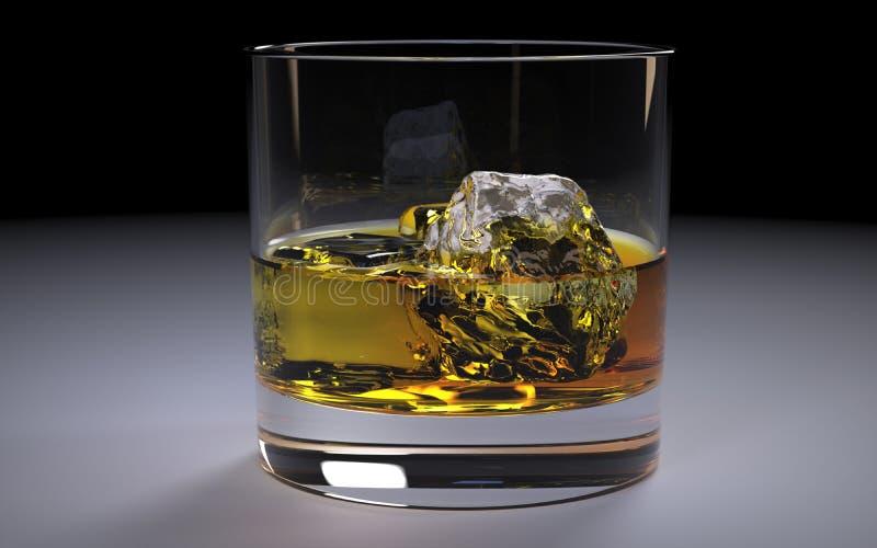 Alcohólico Amber Whiskey Bourbon en un vidrio con hielo ilustración del vector