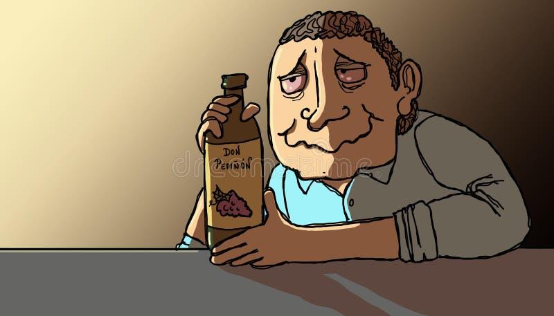 Alcohólico en la salida del sol stock de ilustración