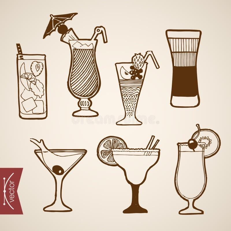 Alcoh dibujado mano del cóctel del vector del vintage del grabado libre illustration