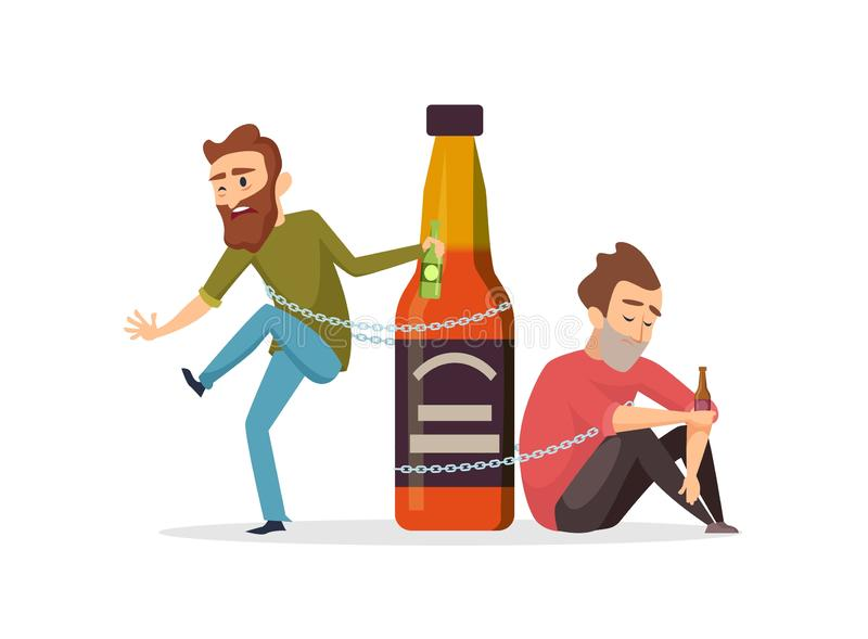 Alcohol addict. Drunk men, alcohol abuse vector illustration. Alcoholism concept vector illustration