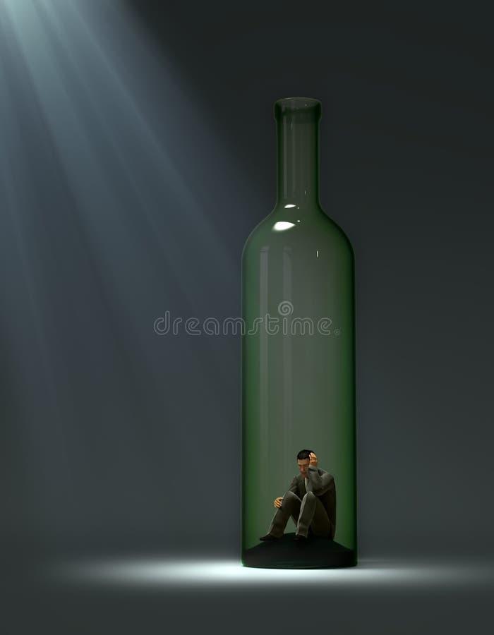Alcohol addiction. Concept illustration - man inside a bottle stock illustration