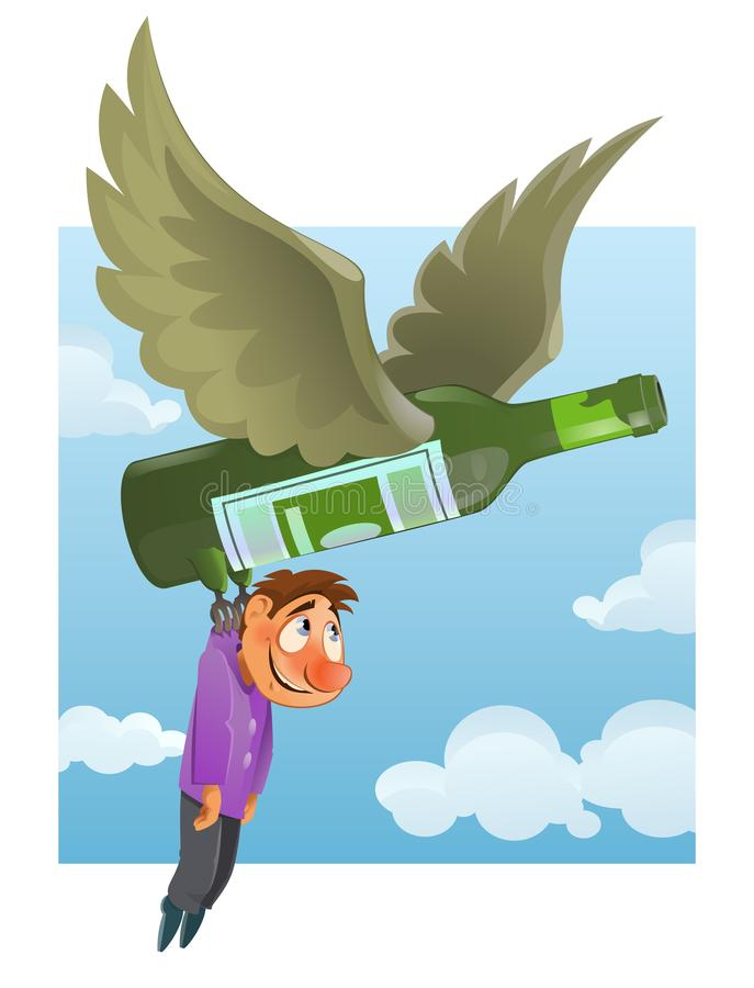 Alcohol addiction concept with cartoon character. stock illustration