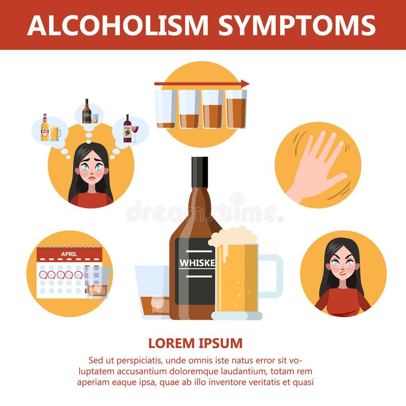 Alcohol addiction symptoms. Danger from alcoholism infographic. Alcohol addiction symptoms. Alcoholism danger infographic. Chronic disease and health problems royalty free illustration