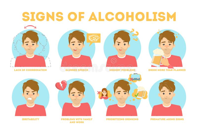 Alcohol addiction symptoms. Danger from alcoholism infographic. Alcohol addiction symptoms. Alcoholism danger infographic. Chronic disease and health problems stock illustration
