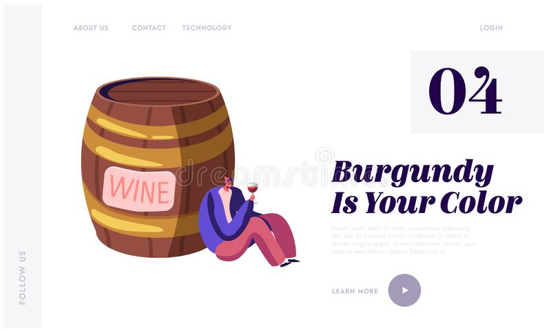 Alcohol Addiction, Wine Degustation Website Landing Page. Young Drunk Man Sitting near Huge Wooden Barrel with Wineglass. In Hand Watching on Red Wine Web Page royalty free illustration
