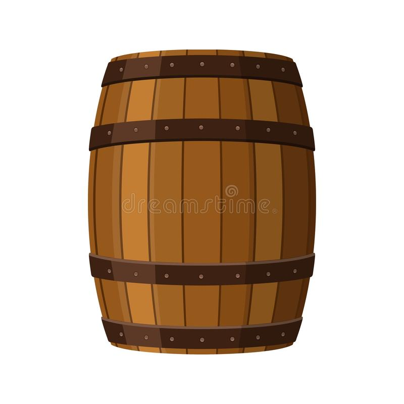 Alcohol barrel, drink container, wooden keg icon isolated on white background. Barrel for wine, rum, beer or gunpowder. stock illustration