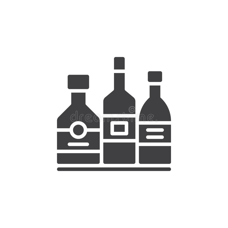 Alcohol beverage bottles icon vector, filled flat sign, solid pictogram isolated on white. vector illustration