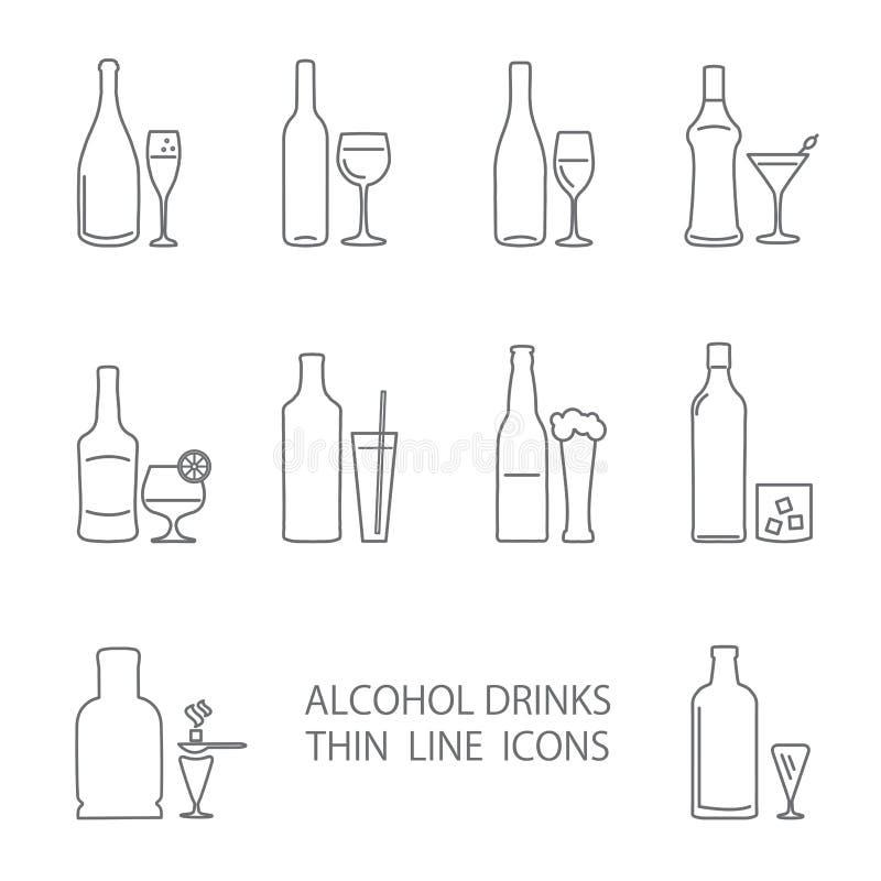 Alcohol beverage icons set vector illustration
