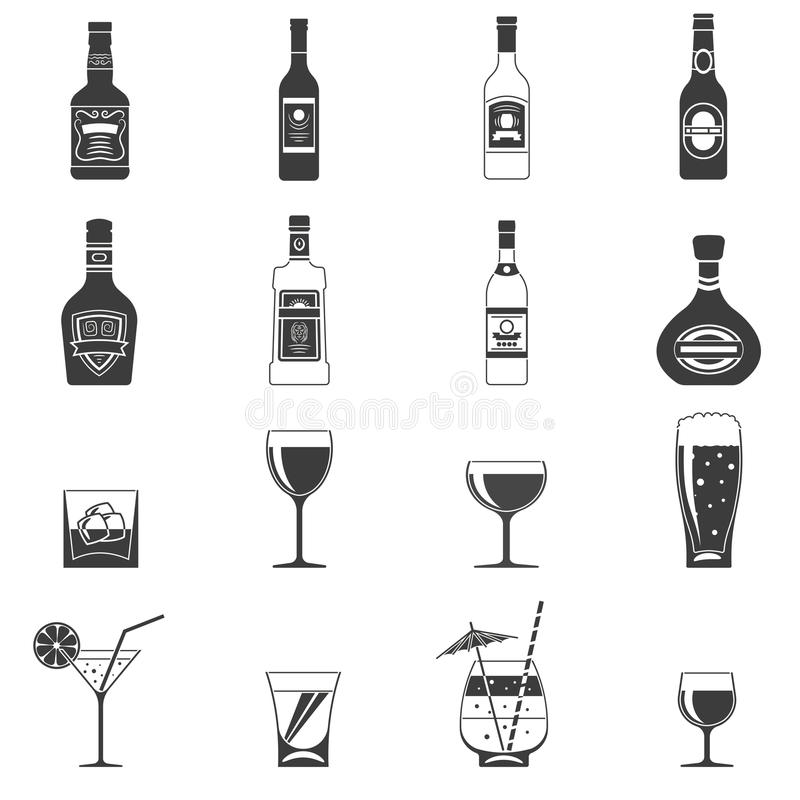Alcohol Black Icons. Set with drink bottles and glass shots vector illustration stock illustration
