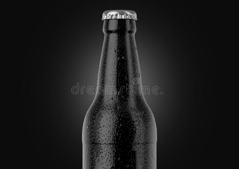 Alcohol Bottled Product With Condensation. A black glass beer bottle covered in water spritz and condensation droplets on an isolated white studio background vector illustration