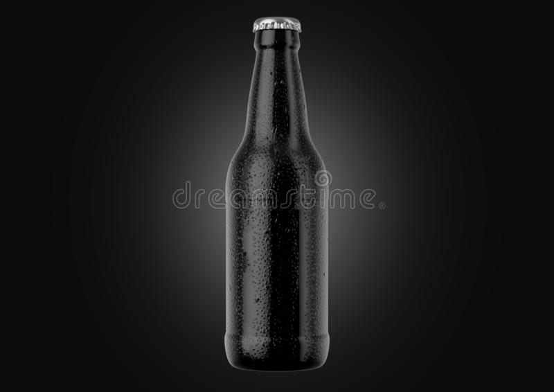 Alcohol Bottled Product With Condensation. A black glass beer bottle covered in water spritz and condensation droplets on an isolated white studio background royalty free illustration