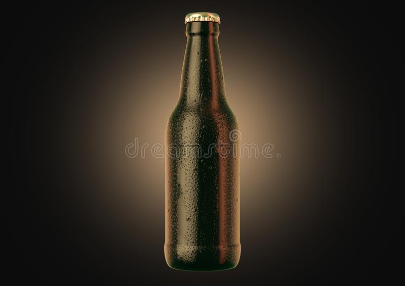 Alcohol Bottled Product With Condensation. A brown amber beer bottle covered in water spritz and condensation droplets on an isolated dark studio background - 3D royalty free illustration