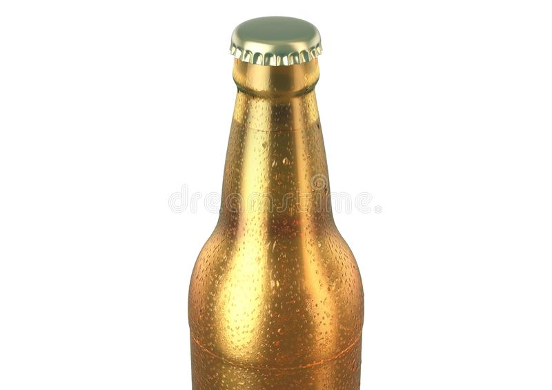 Alcohol Bottled Product With Condensation. A brown amber glass beer bottle covered in water spritz and condensation droplets on an isolated white studio vector illustration
