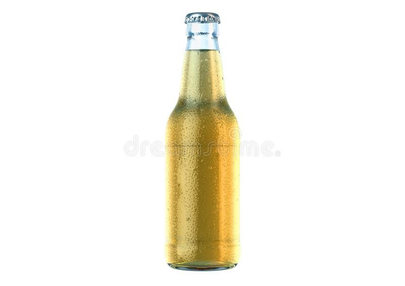Alcohol Bottled Product With Condensation. A clear glass beer bottle covered in water spritz and condensation droplets on an isolated white studio background royalty free illustration