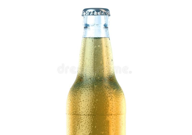 Alcohol Bottled Product With Condensation. A clear glass beer bottle covered in water spritz and condensation droplets on an isolated white studio background stock illustration