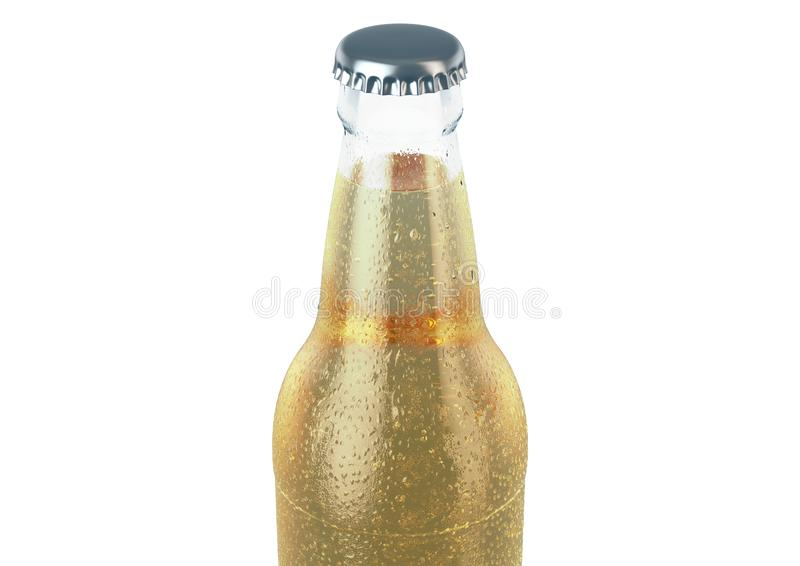 Alcohol Bottled Product With Condensation. A clear glass beer bottle covered in water spritz and condensation droplets on an isolated white studio background vector illustration