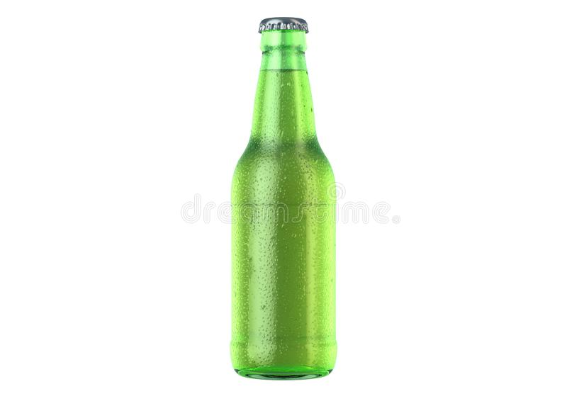 Alcohol Bottled Product With Condensation. A green glass beer bottle covered in water spritz and condensation droplets on an isolated white studio background stock illustration