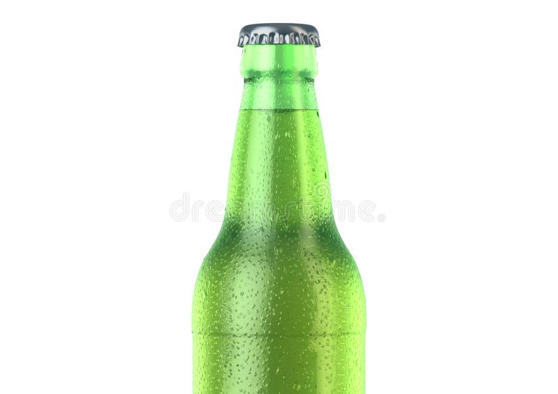 Alcohol Bottled Product With Condensation. A green glass beer bottle covered in water spritz and condensation droplets on an isolated white studio background royalty free illustration