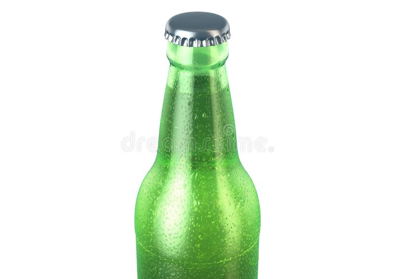 Alcohol Bottled Product With Condensation. A green glass beer bottle covered in water spritz and condensation droplets on an isolated white studio background vector illustration