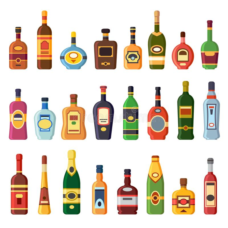 Alcohol bottles. Alcoholic liquor drink bottle with vodka, cognac and liqueur. Whisky, rum or brandy liquors isolated vector illustration