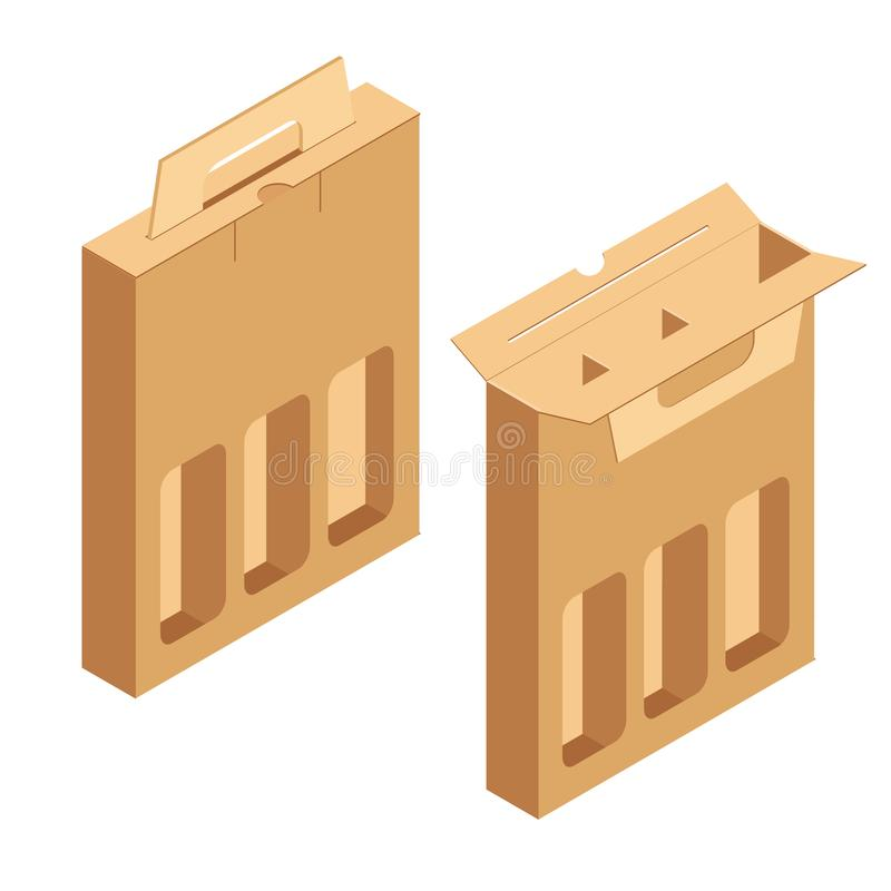 Alcohol cardboard pack stock illustration