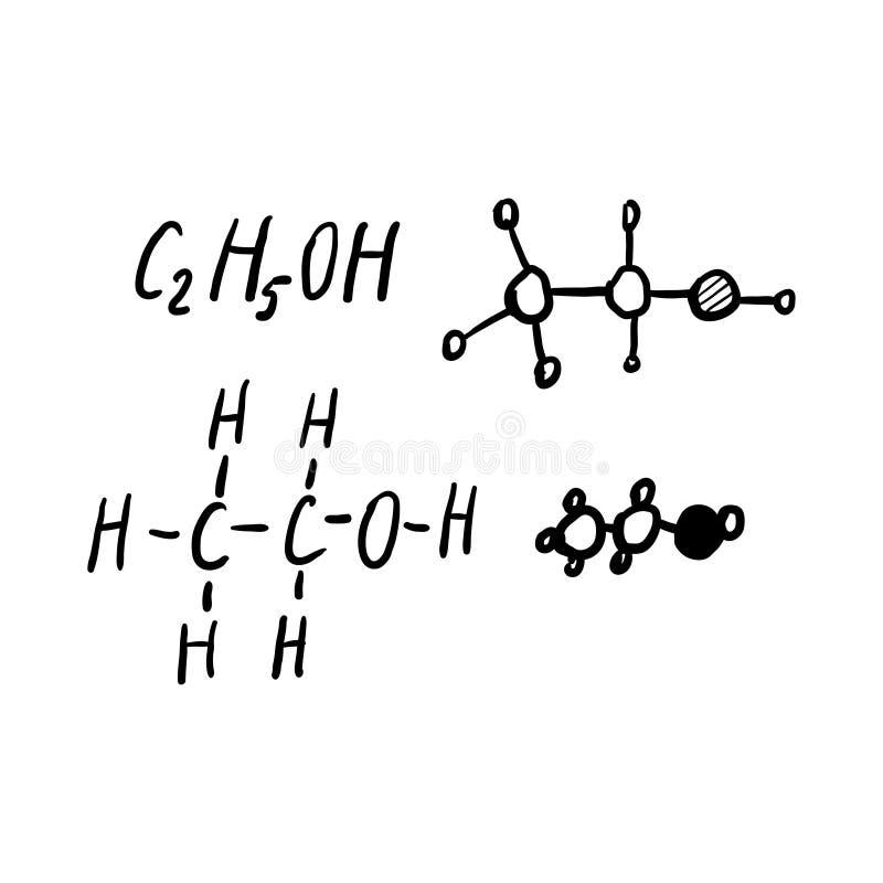 Alcohol Chemical Formulas Scribble Sketch royalty free illustration