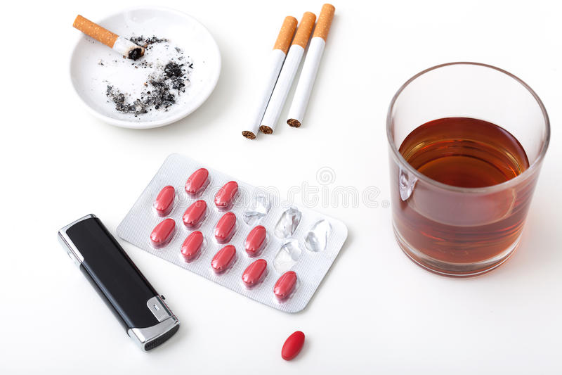 Download Alcohol cigarettes pills stock image. Image of pill, cigarette - 35954239