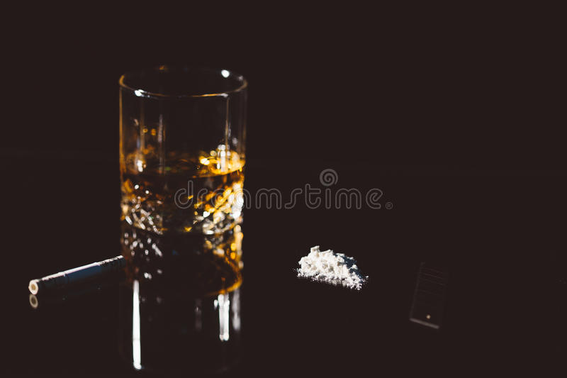 Alcohol and cocaine stock photography