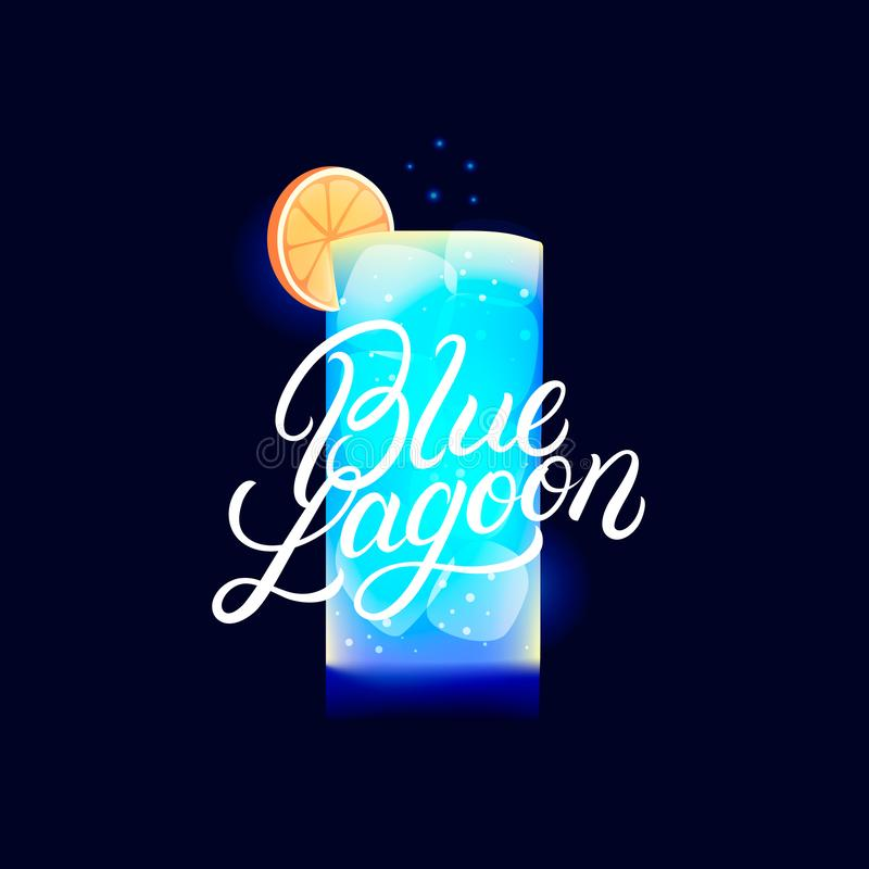 Alcohol cocktail Blue Lagoon. Modern hand written lettering label. Dark background. Trendy flat style. Vector illustration vector illustration