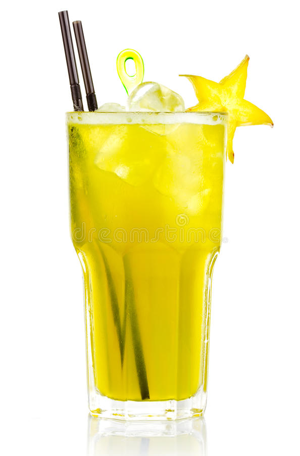 Alcohol cocktail with carambola fruits slices isolated stock photos